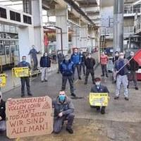 Solidaritätsaktion von Kollegen von VW Braunschweig mit den Kolleginnen und Kollegen bei MAN in Salzgitter